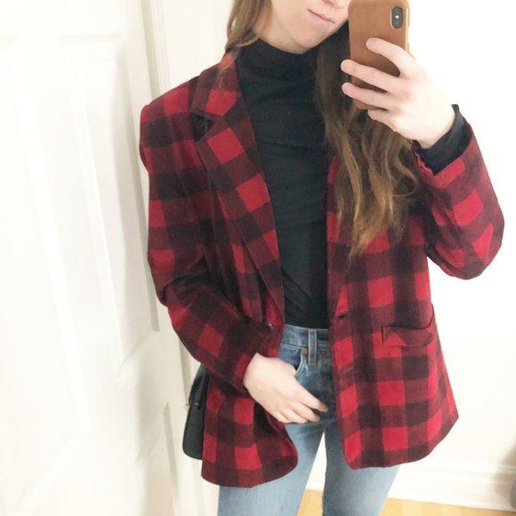 Vintage Danier Suede Plaid Check Red Blazer Jacket